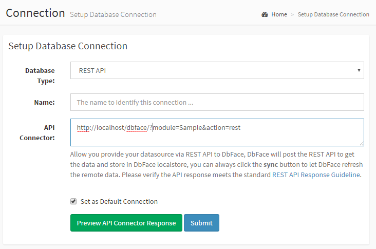 DbFace API connector connect to No-SQL databases