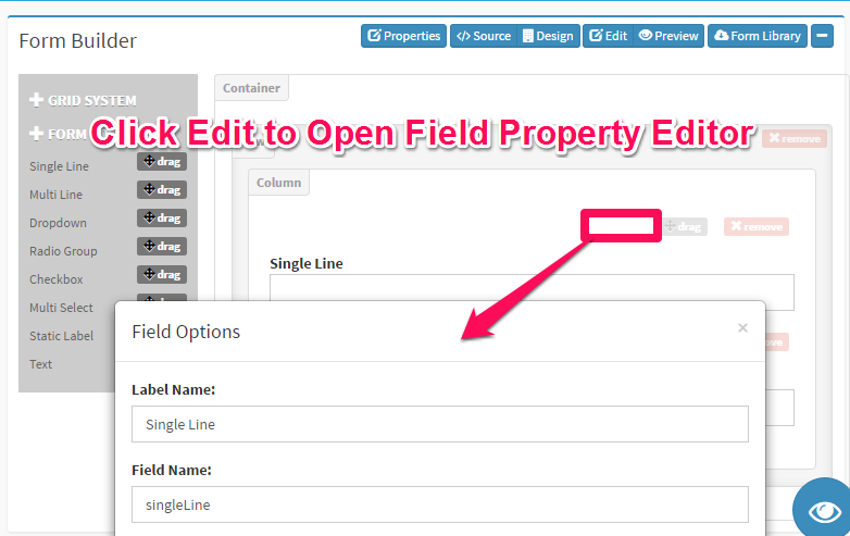 DbFace Form Fields Property Editor