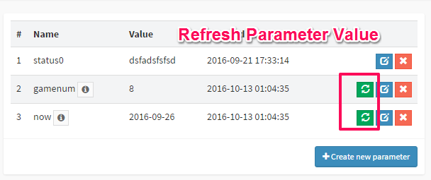 Refresh parameter value in DbFace