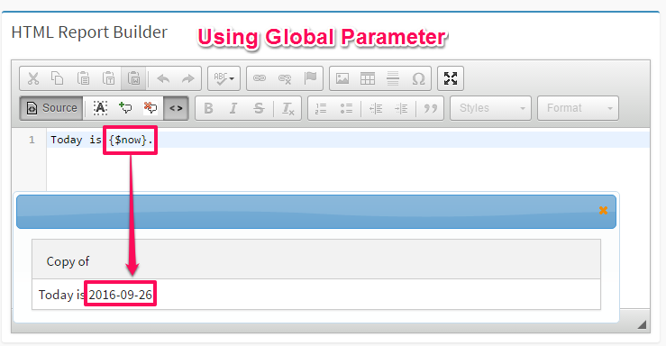 simple sample that use global parameter in DbFace