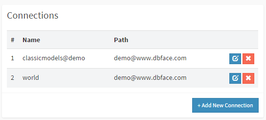 database connections in DbFace