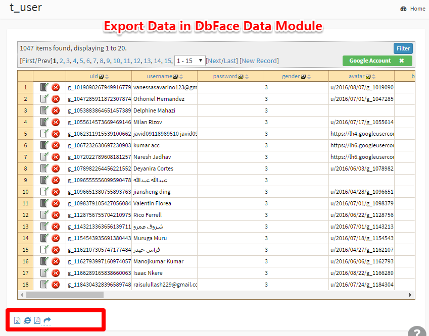 Export data to CSV, PDF format
