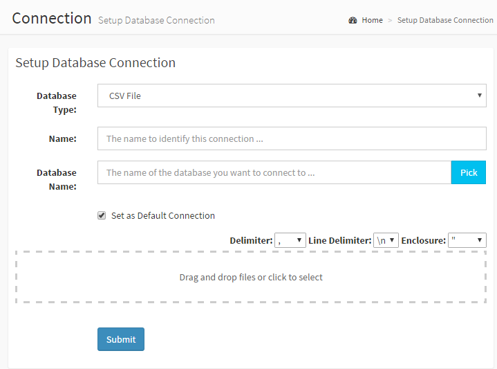 upload CSV file as DbFace datasource