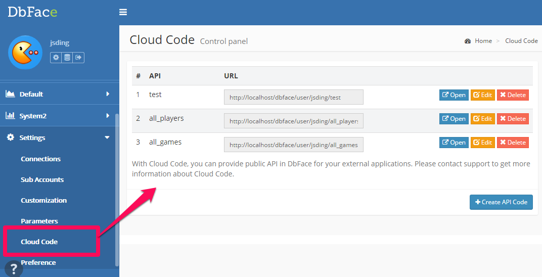 Cloud code list page