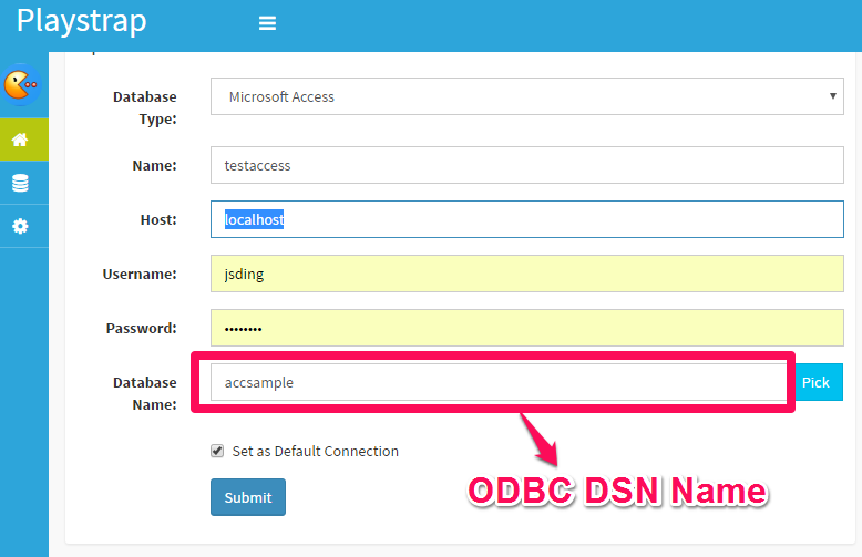Connect to Access using ODBC driver in DbFace