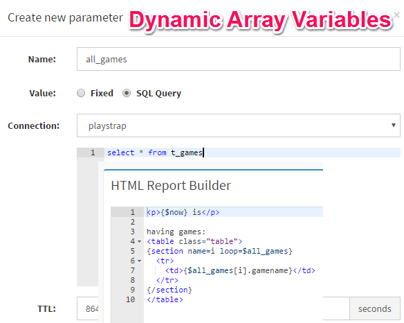 Use dynamic array variables in DbFace