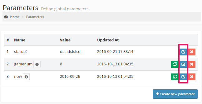 Edit global parameter in DbFace