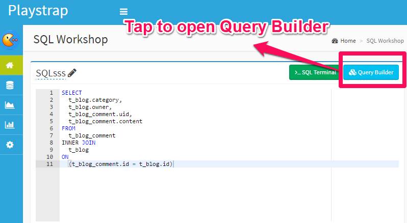 Open Query Builder tool in SQL Workshop