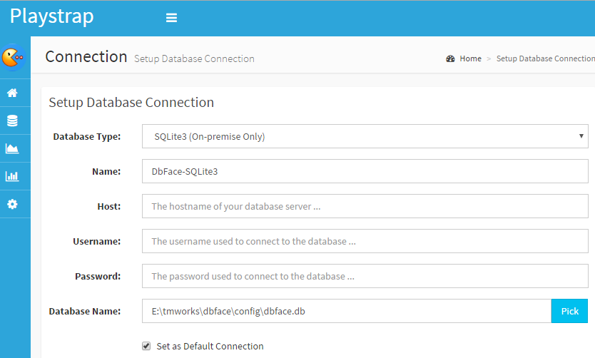 DbFace connect to SQLite3