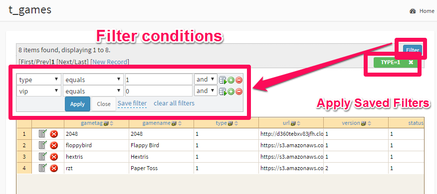apply filter conditions in data module